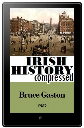 The cover of the Irish History Compressed ebook displayed on a tablet